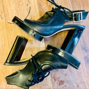 {ZARA WOMAN} Black Lade Up Platform Heels